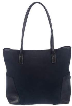 Salvatore Ferragamo Leather-Trimmed Canvas Tote