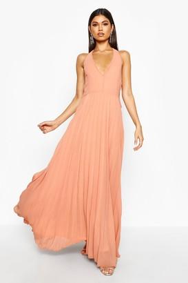 boohoo Chiffon Pleated Plunge Maxi Dress