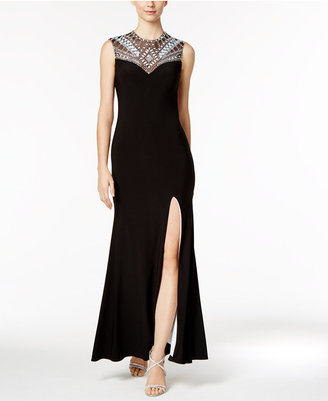 Betsy & Adam Geo-Embellished Open-Back Gown $259 thestylecure.com