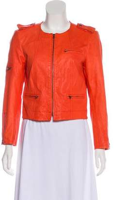 Alice + Olivia Scoop Neck Leather Jacket