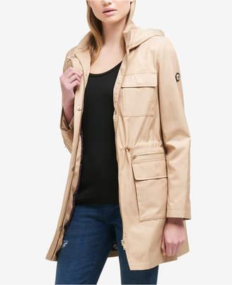 DKNY Hooded Cinched-Waist Raincoat