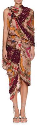 Etro High-Neck Sleeveless Metallic Printed Draped Sari Dress