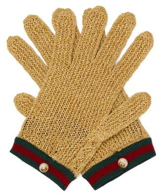 Gucci Web Striped Metallic Crochet Gloves - Womens - Gold