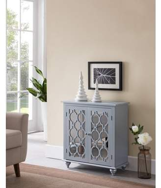 URBAN RESEARCH Pilaster Designs Yalili Gray Silver Wood Transitional Server Console Buffet Table With Mirrored Storage Cabinet