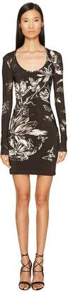 Just Cavalli Long Sleeve Tulip Heaven Print Jersey Dress Women's Dress