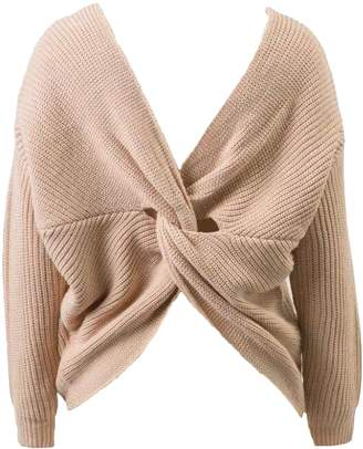 Goodnight Macaroon 'Callie' Twisted V-neck Sweater (4 Colors)