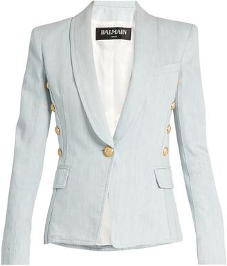 BALMAIN Single-breasted denim blazer $1,271 thestylecure.com