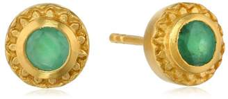 Satya Jewelry Emerald Gold Plated Stud Earrings