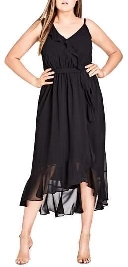 Flirty Detail Midi Wrap Dress