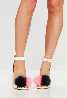 Missguided White Pom Pom Block Heeled Sandals