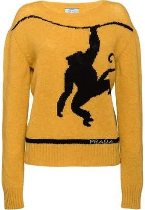 Prada monkey intarsia cashmere jumper