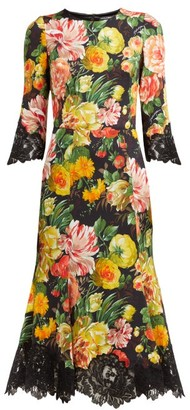 Dolce & Gabbana Floral Print Lace Trimmed Cady Midi Dress - Womens - Black Multi