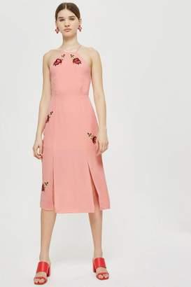 Topshop Tall Embroidered Slip Midi Dress