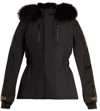 Fendi Logo Cuff Hooded Ski Jacket - Womens - Black