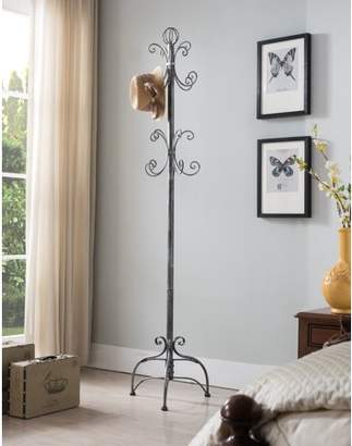 Pilaster Designs Cecily Brushed Silver Metal Transitional 8 Hook Hat & Coat Rack Hall Tree Display Stand