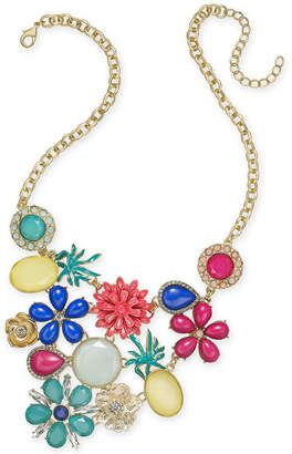 """INC International Concepts I.N.C. Gold-Tone Multi-Stone Flower & Fruit Statement Necklace, 18"""" + 3"""" extender, Created for Macy's"""