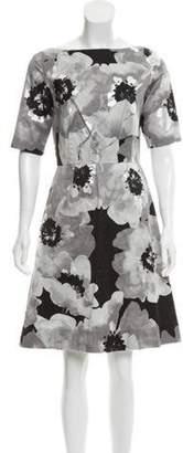 Lela Rose Printed Sheath Dress Grey Printed Sheath Dress