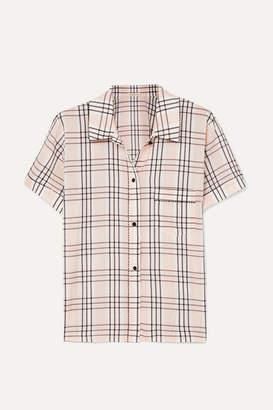 Morgan Lane - Tami Plaid Seersucker Pajama Shirt - Blush
