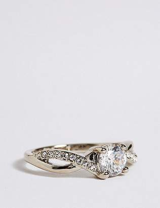 Marks and Spencer Platinum Plated Twisted Crystal Stone Ring