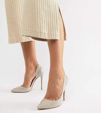 Glamorous Wide Fit Beige D'Orsay Pumps