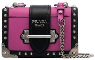 Prada pink and black cahier leather shoulder bag