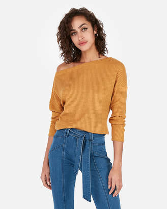 Express One Eleven Off The Shoulder Waffle Knit Tee