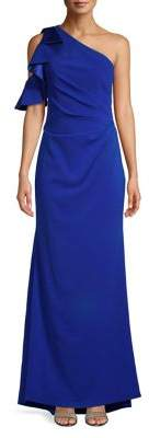 Carmen Marc Valvo Ruffled One-Shoulder Gown