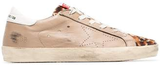Golden Goose nude, brown and white superstar leather sneakers