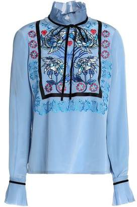 Temperley London Pussy-Bow Embroidered Silk Blouse