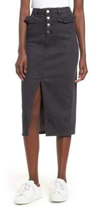 The Fifth Label Subject Ruffle Waist Denim Midi Skirt