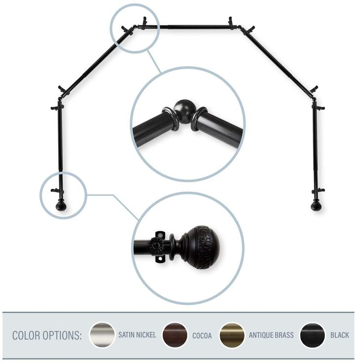 Naomi Black 5-Sided Bay Window Curtain Rod