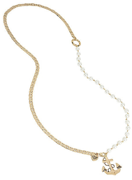 Betsey JohnsonAnchors Away Pearl And Anchor Necklace