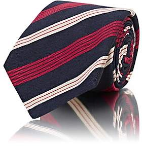 Kiton MEN'S STRIPED SILK-COTTON REPP NECKTIE - NAVY