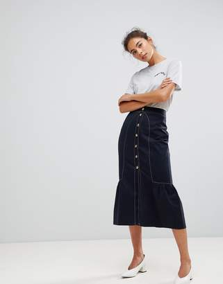 Asos Design DESIGN Midi Skirt with Buttons and Contrast Stitching