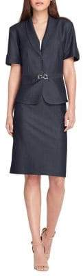 Tahari Arthur S. Levine Buckled Shawl-Collar Jacket and Skirt Suit