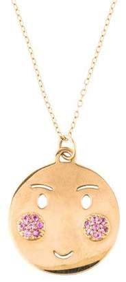 Alison Lou 14K Pink Sapphire Bashful Pendant Necklace