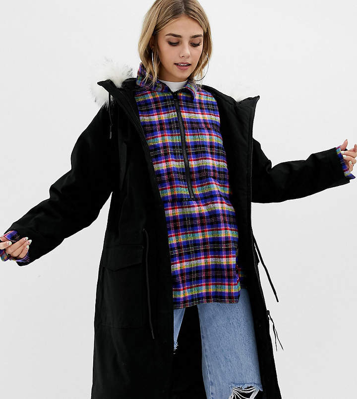 Collusion COLLUSION longline parka with removable faux fur hood