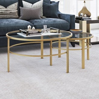 Hudson&Canal Gaia Round Metal/ Tempered Glass Nesting Coffee Tables in Gold - 2 pc Set