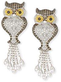 Roberto Coin 18k Diamond Owl Drop Earrings