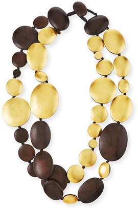 Viktoria Hayman Double-Strand Golden Wood Necklace