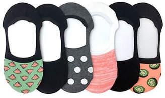 Me Moi MEMOI Womens Six-Pack Printed Liner Socks