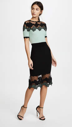 Yigal Azrouel Shell Lace Combo Short Sleeve Dress