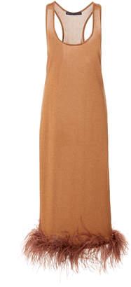 Zeynep Arçay Feather-Embellished Lamé Midi Dress Size: 0