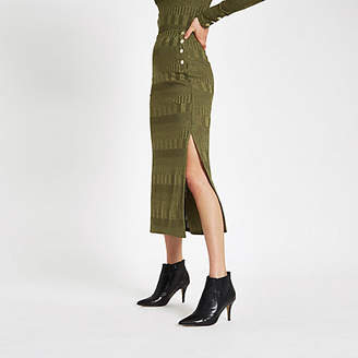 River Island Khaki button side jersey midi skirt