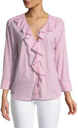 Velvet Hama Striped Ruffle Button-Down Top