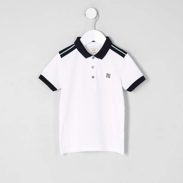 Mini boys White chest embroidered polo shirt