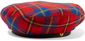 Versace Leather-trimmed Checked Wool Beret - Red