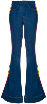 Alice + Olivia Alice+Olivia rainbow side panel flared jeans