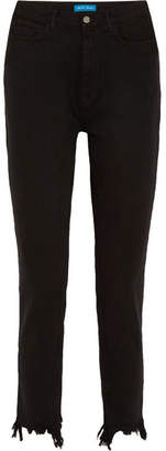 MiH Jeans Mimi Frayed High-rise Straight-leg Jeans - Black