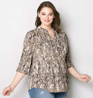 Avenue Abstract Chevron Pleated Top